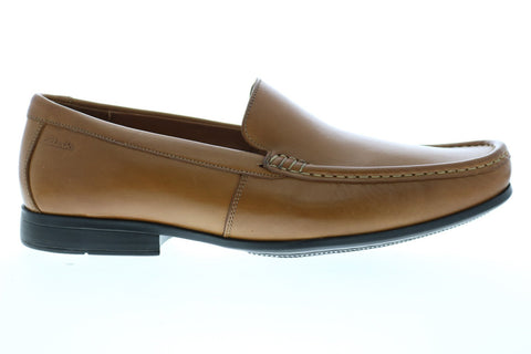 Clarks Claude Plain 26138650 Mens Brown Leather Dress Slip On Loafers Shoes