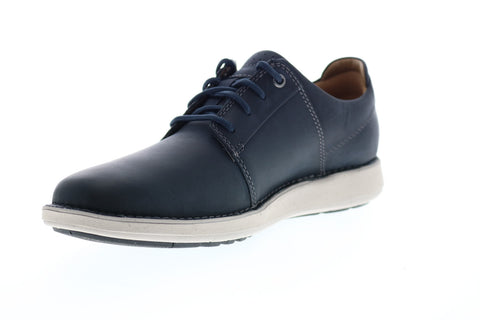 Clarks Un Larvik Lace 26144586 Mens Blue Leather Lace Up Plain Toe Oxfords Shoes