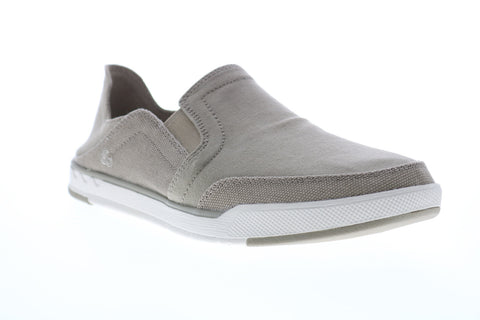 Clarks Step Isle Row 26148616 Mens Gray Canvas Slip On Casual Loafers Shoes
