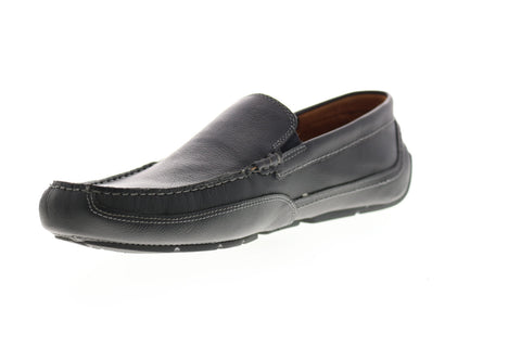 Clarks Ashmont Step 26149629 Mens Black Wide 2E Leather Moccasin Loafers Shoes