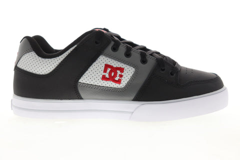 DC Pure 300660 Mens Black Gray Leather Lace Up Athletic Skate Shoes