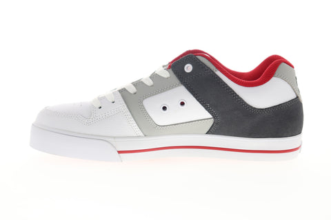 DC Pure 300660 Mens White Leather Lace Up Skate Sneakers Shoes