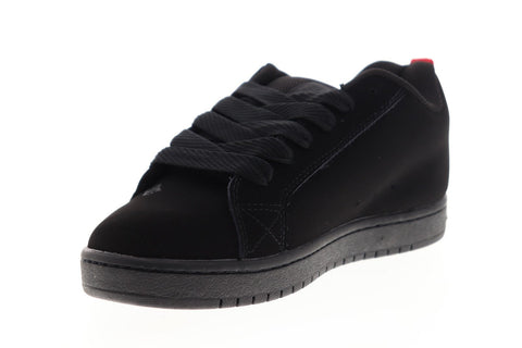 DC Court Graffik SE 300927 Mens Black Leather Lace Up Athletic Skate Shoes