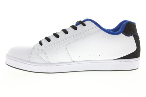 DC Net SE 302297 Mens White Leather Lace Up Athletic Skate Shoes