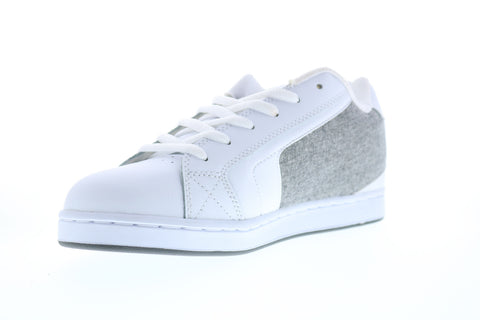 DC Net 302361 Mens White Leather Lace Up Skate Sneakers Shoes