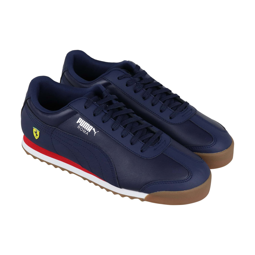 d7069f3d5 Puma Sf Roma Mens Blue Leather Low Top Lace Up Sneakers Shoes