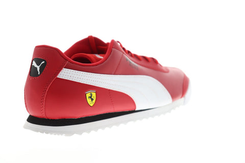 Puma Scuderia Ferrari Roma Mens Red Leather Low Top Lace Up Sneakers Shoes