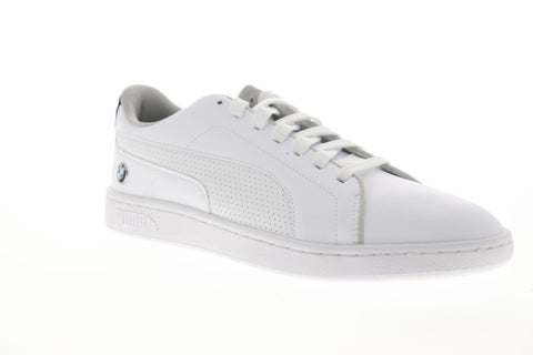 Puma Bmw Mms Smash V2 Mens White Leather Low Top Lace Up Sneakers Shoes