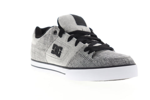 DC Pure TX SE 320423 Mens Gray Canvas Lace Up Athletic Skate Shoes