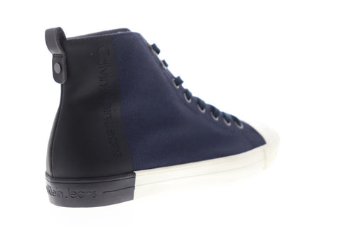 Calvin Klein Arnaud 34S0377-MHL Mens Blue Canvas High Top Sneakers Shoes