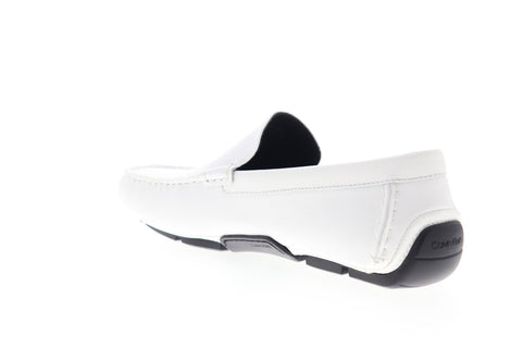 Calvin Klein Kaleb 34F0994-WHT Mens White Leather Low Top Moccasin Loafers Shoes
