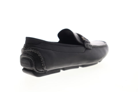 Calvin Klein Maxim Tumbled 34F1651-BLK Mens Black Leather Moccasin Loafers Shoes