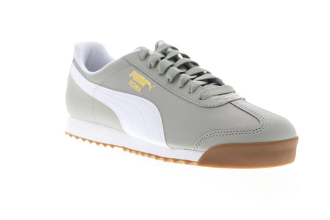 Puma Roma Basic Mens Gray Leather Low Top Lace Up Sneakers Shoes
