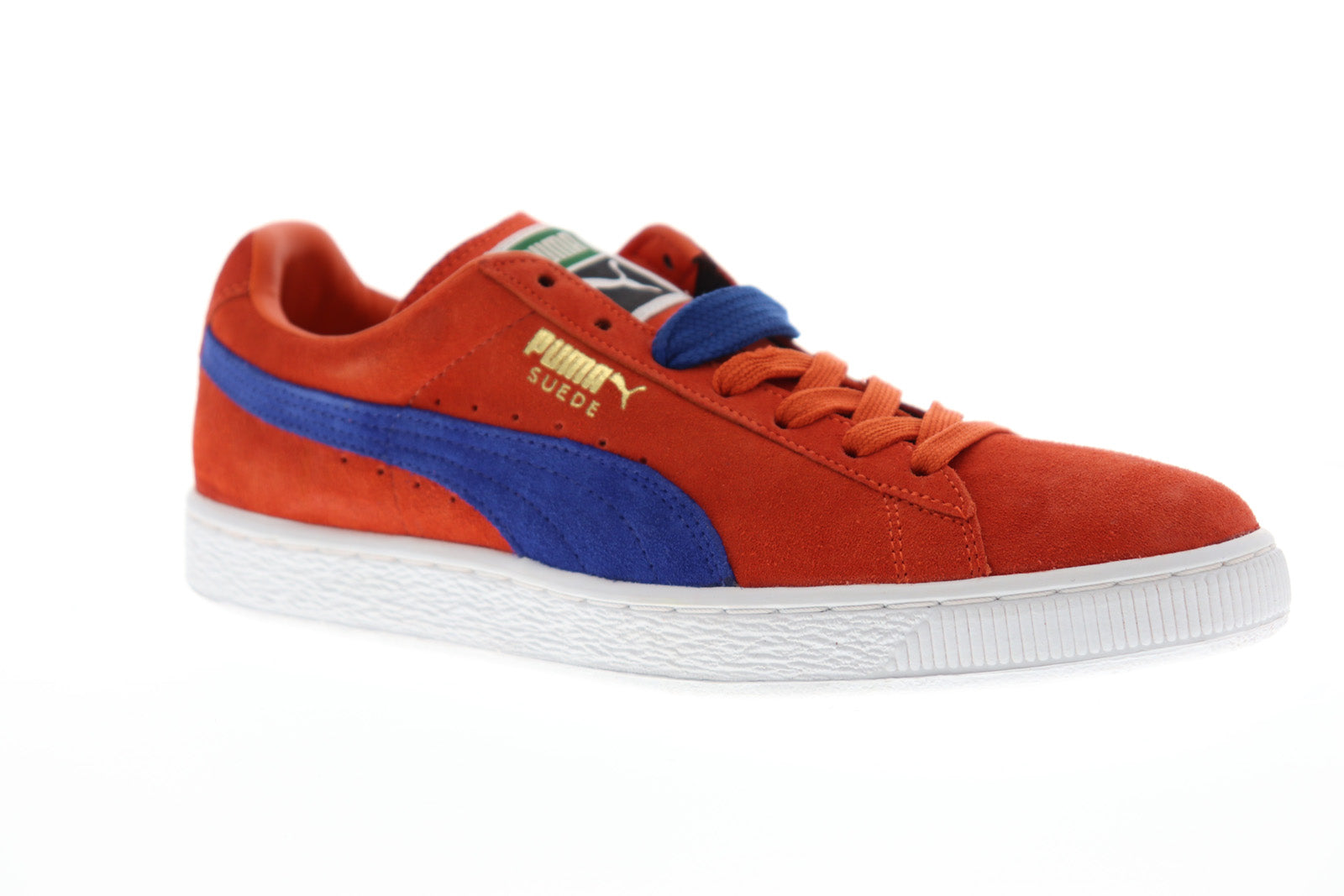 promo code cc850 7200c Puma Suede Classic + Mens Orange Suede Low Top Lace Up Sneakers Shoes