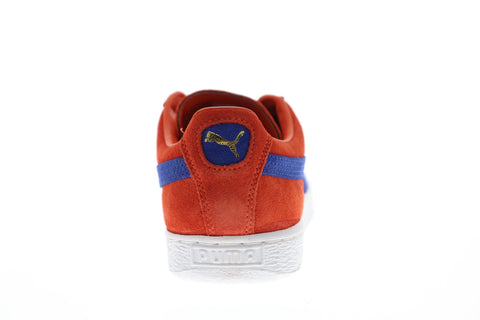 Puma Suede Classic + Mens Orange Suede Low Top Lace Up Sneakers Shoes