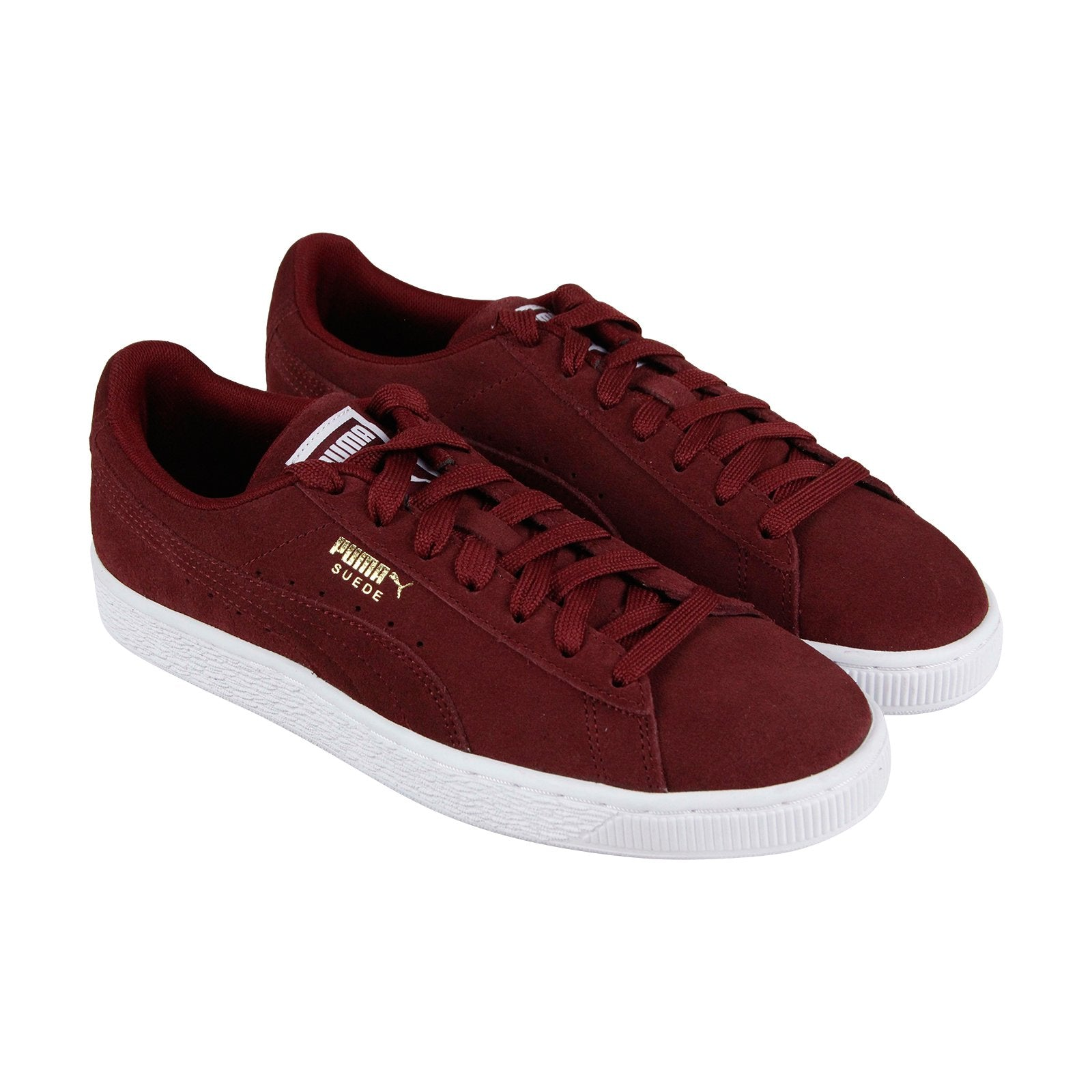 best sneakers 03c71 8ae4a Puma Suede Classic + Mens Red Suede Low Top Lace Up Sneakers Shoes