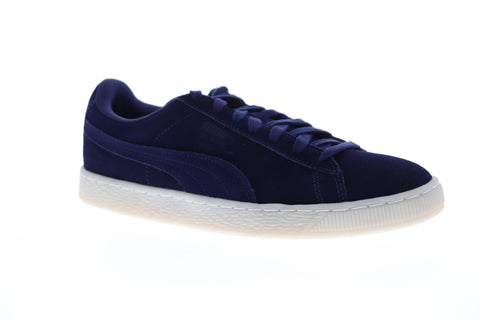 Puma Suede Classic Colored Mens Blue Suede Low Top Lace Up Sneakers Shoes
