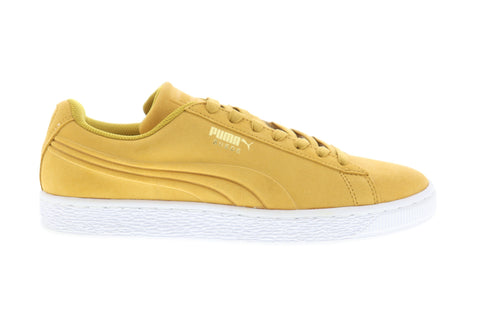 Puma Suede Classic Debossed Q3 Mens Yellow Suede Low Top Sneakers Shoes