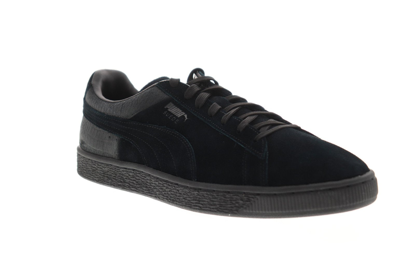reputable site 91fee 850af Puma Suede Classic Casual Emboss Mens Black Suede Low Top Sneakers Shoes