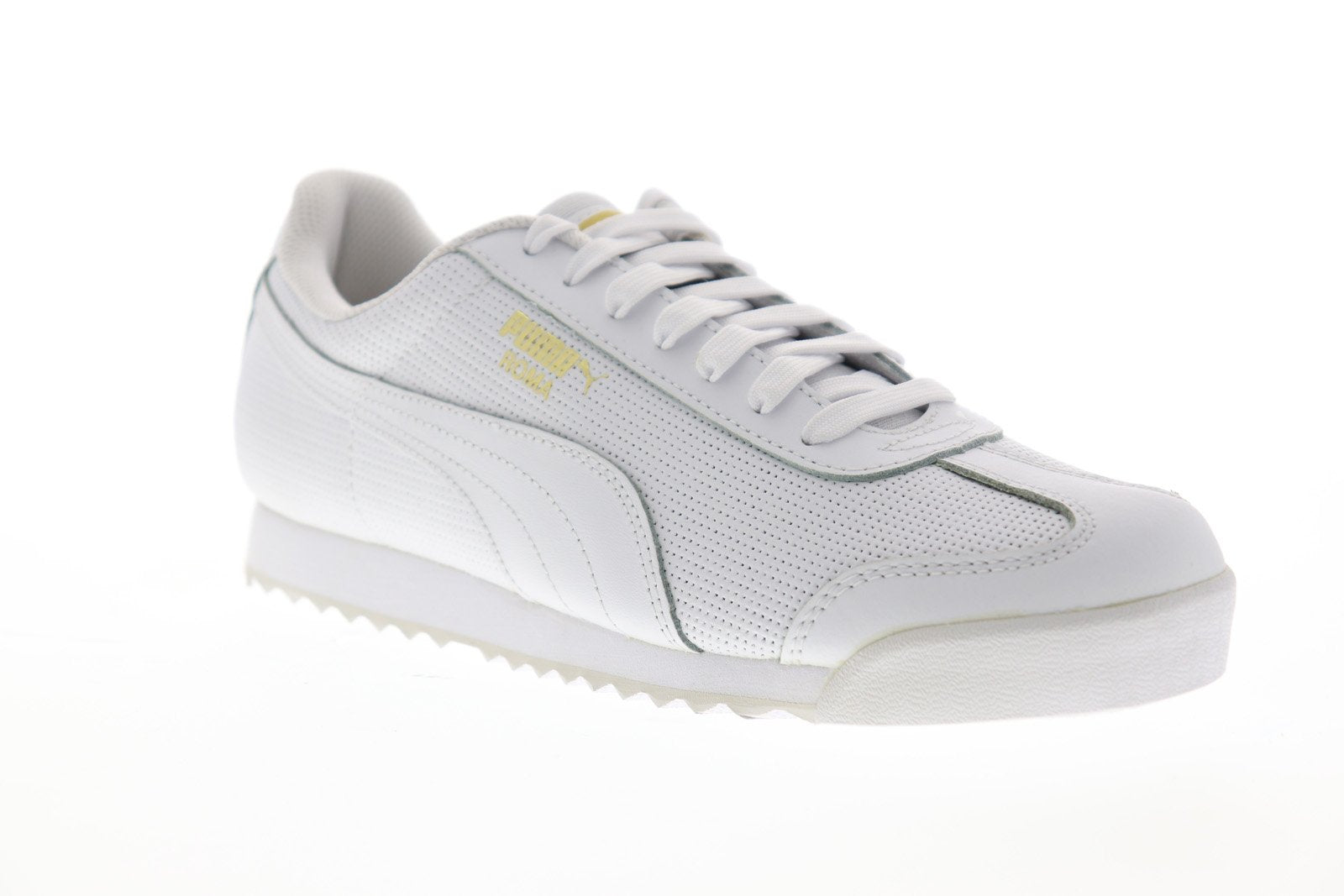 the latest 1591d c3caf Puma Roma Classic Perf Mens White Leather Low Top Lace Up Sneakers Shoes