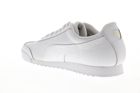 Puma Roma Classic Perf Mens White Leather Low Top Lace Up Sneakers Shoes