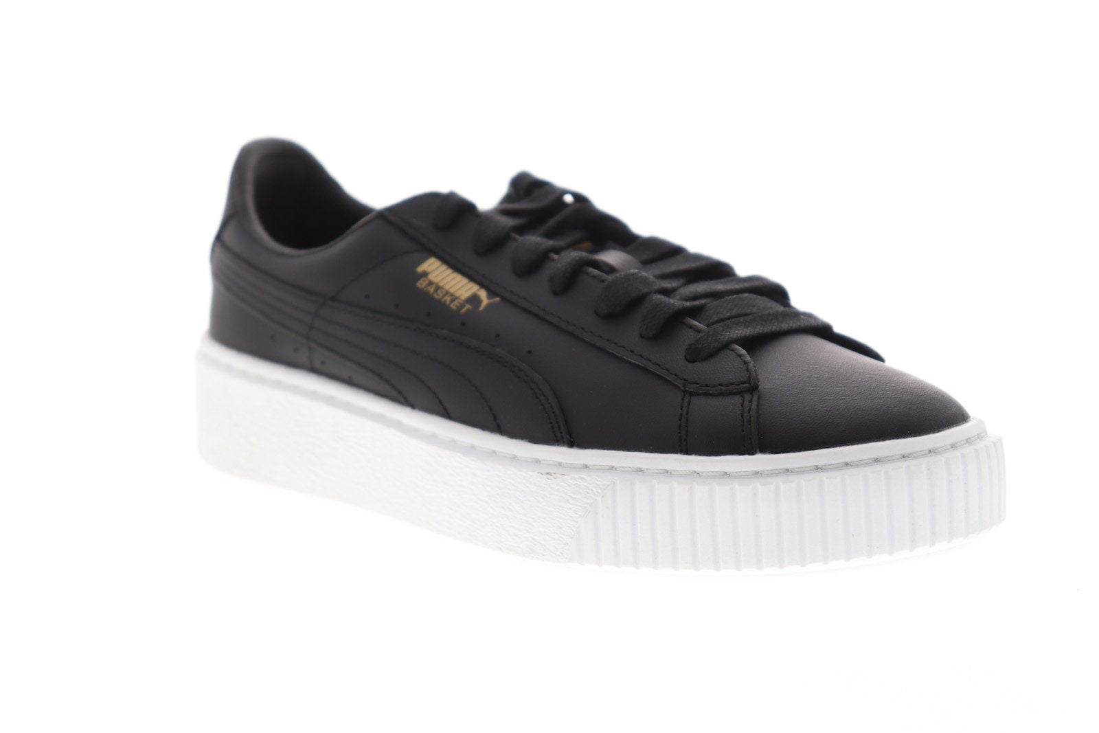 save off 28ace 168ad Puma Basket Platform Core Womens Black Leather Low Top Sneakers Shoes
