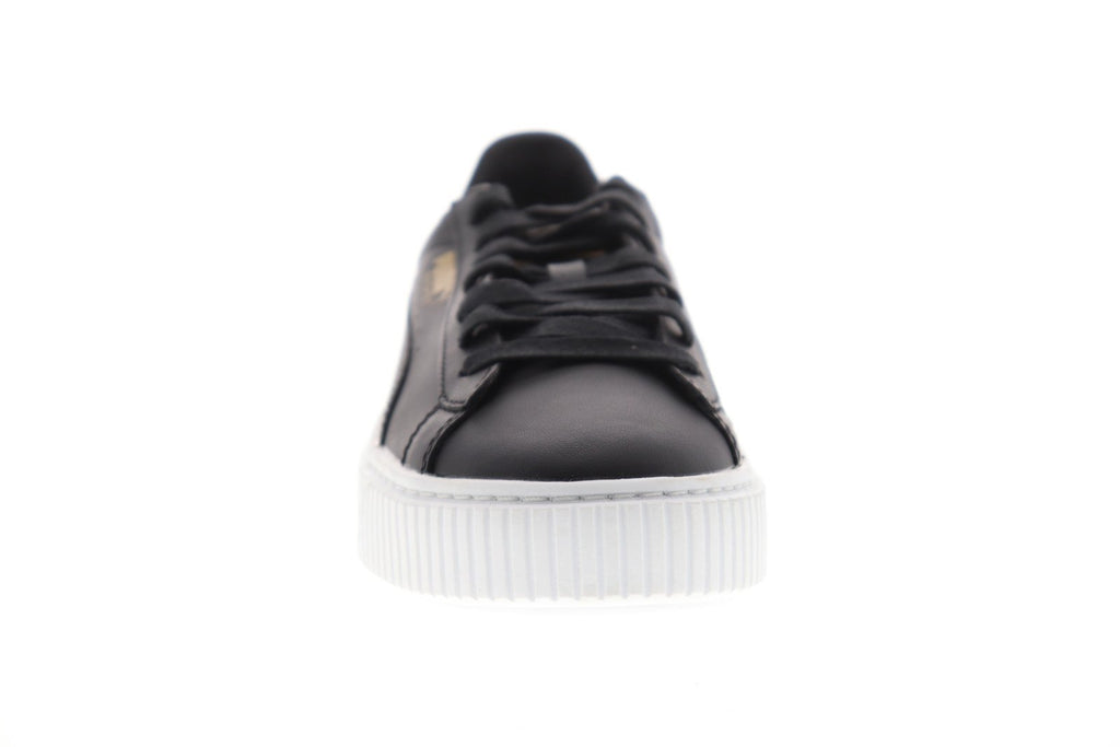 save off 40f78 7fb37 Puma Basket Platform Core Womens Black Leather Low Top Sneakers Shoes