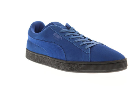 Puma Suede Black Sole Mens Blue Suede Low Top Lace Up Sneakers Shoes