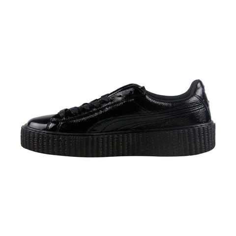 Puma Fenty By Rihanna Creeper Wrinkled Patent Womens Black Lace Up Shoes