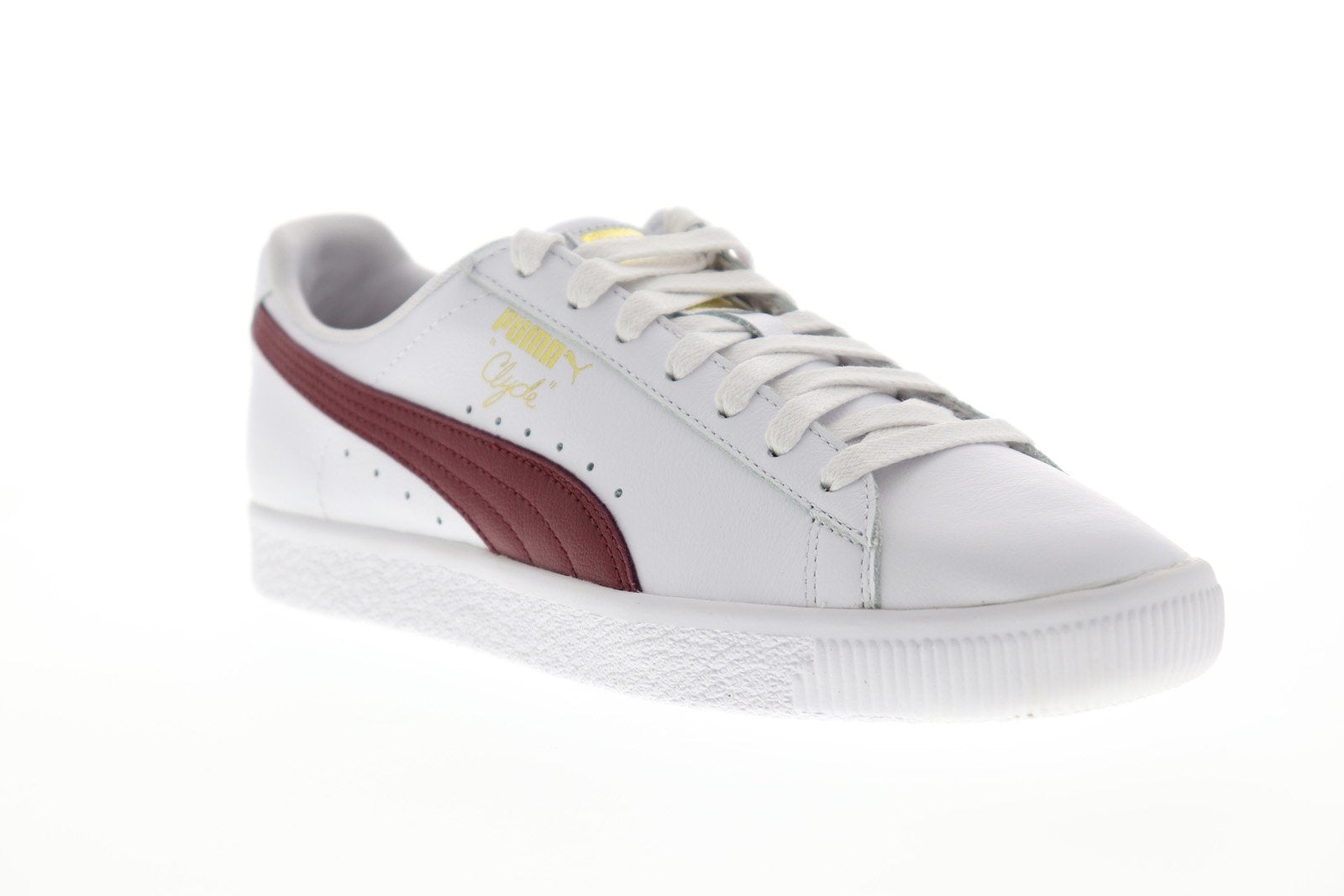 the best attitude 8310c 73499 Puma Clyde Core L Foil Mens White Leather Low Top Lace Up Sneakers Shoes