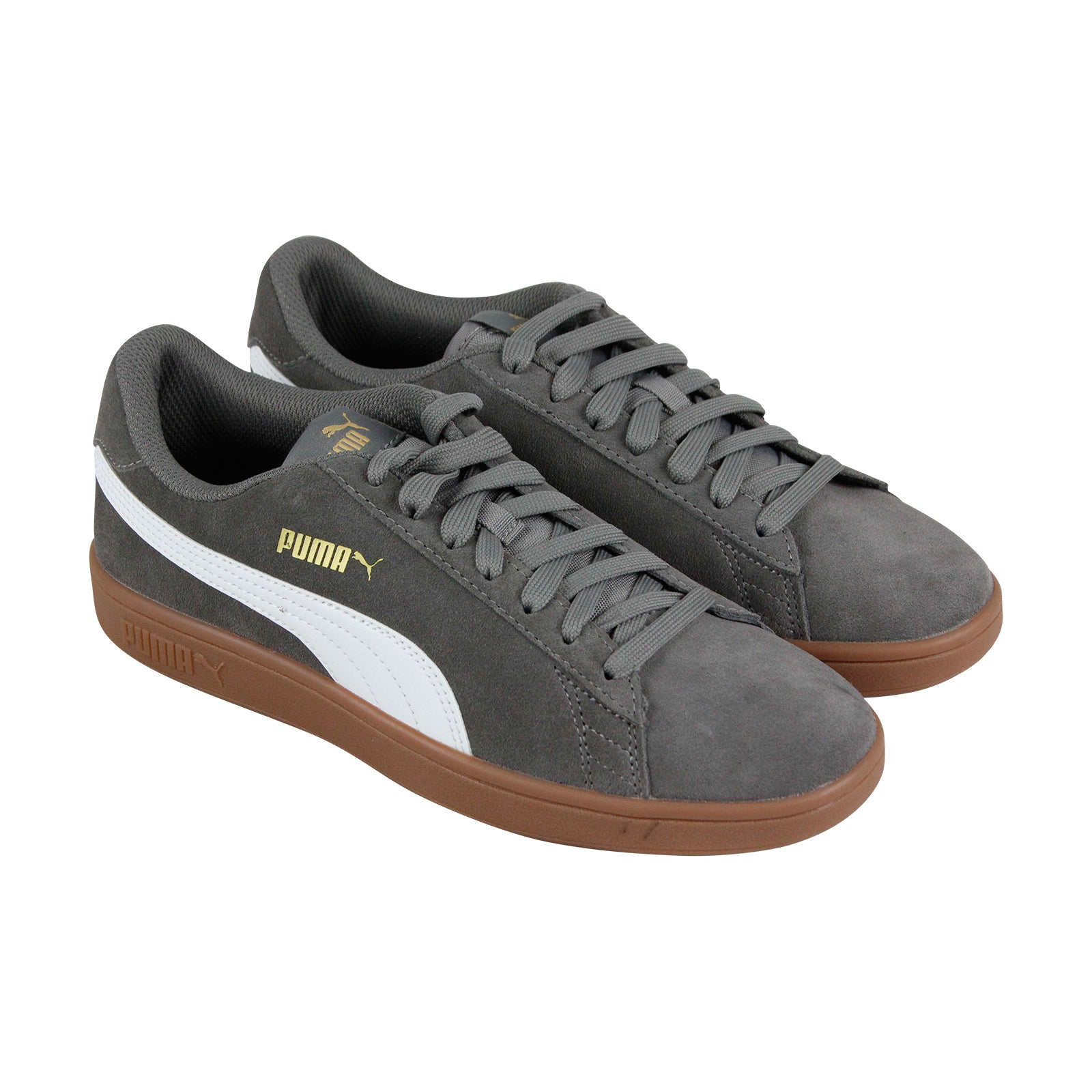 best loved 342b5 3776a Puma Smash V2 Mens Gray Suede Low Top Lace Up Sneakers Shoes
