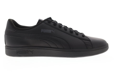 Puma Smash V2 L Mens Black Leather Low Top Lace Up Sneakers Shoes