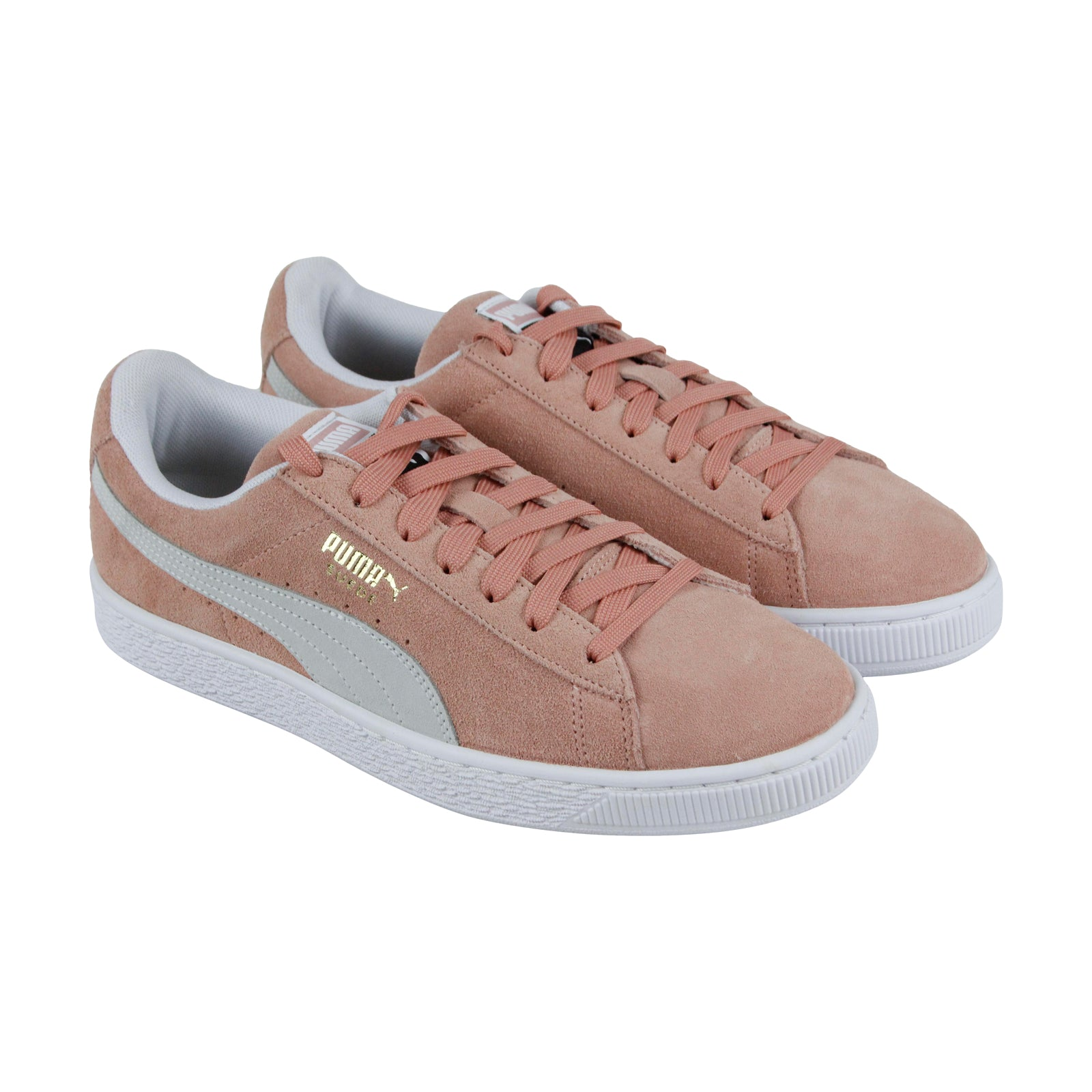 another chance c6277 a3240 Puma Suede Classic Mens Pink Suede Low Top Lace Up Sneakers Shoes