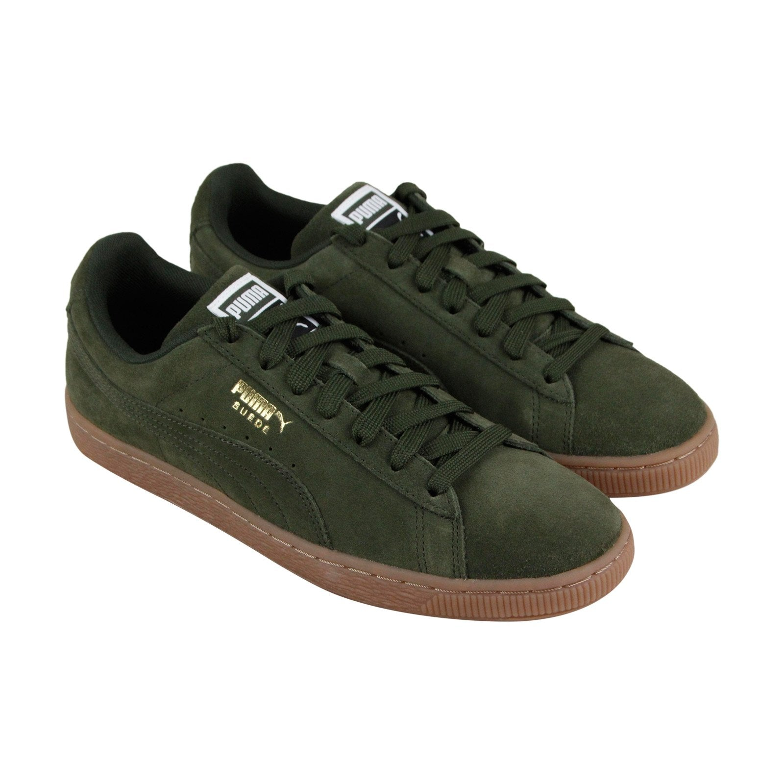 premium selection 9ddea 5c355 Puma Suede Classic Mens Green Suede Low Top Lace Up Sneakers Shoes