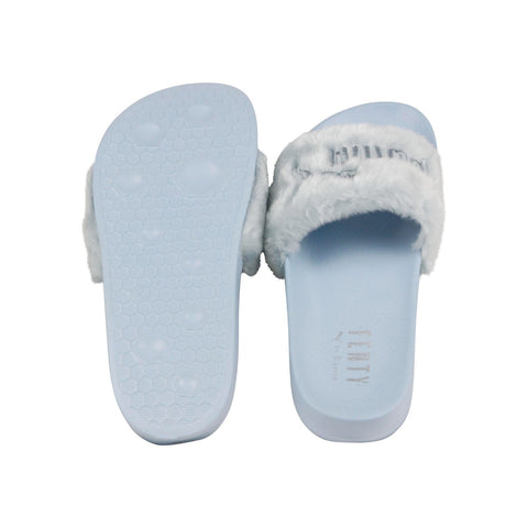 Puma Fenty By Rihanna Fur Slide 36577203 Womens Blue Canvas Sandals Slides Shoes