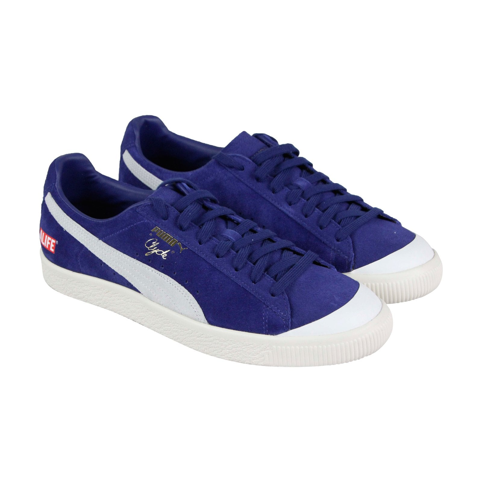 huge selection of 7afd0 5364b Puma Clyde Rt Alife Mens Blue Suede Low Top Lace Up Sneakers Shoes