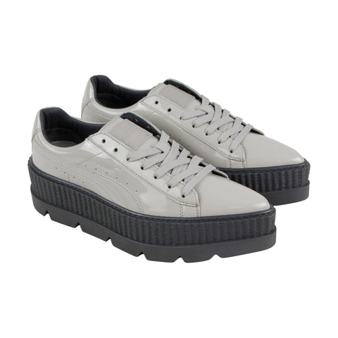 Puma Pointy Creeper 36627002 Womens Gray Patent Leather Lifestyle Sneakers Shoes
