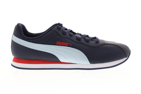 Puma Turin II NL Mens Blue Leather Low Top Lace Up Sneakers Shoes