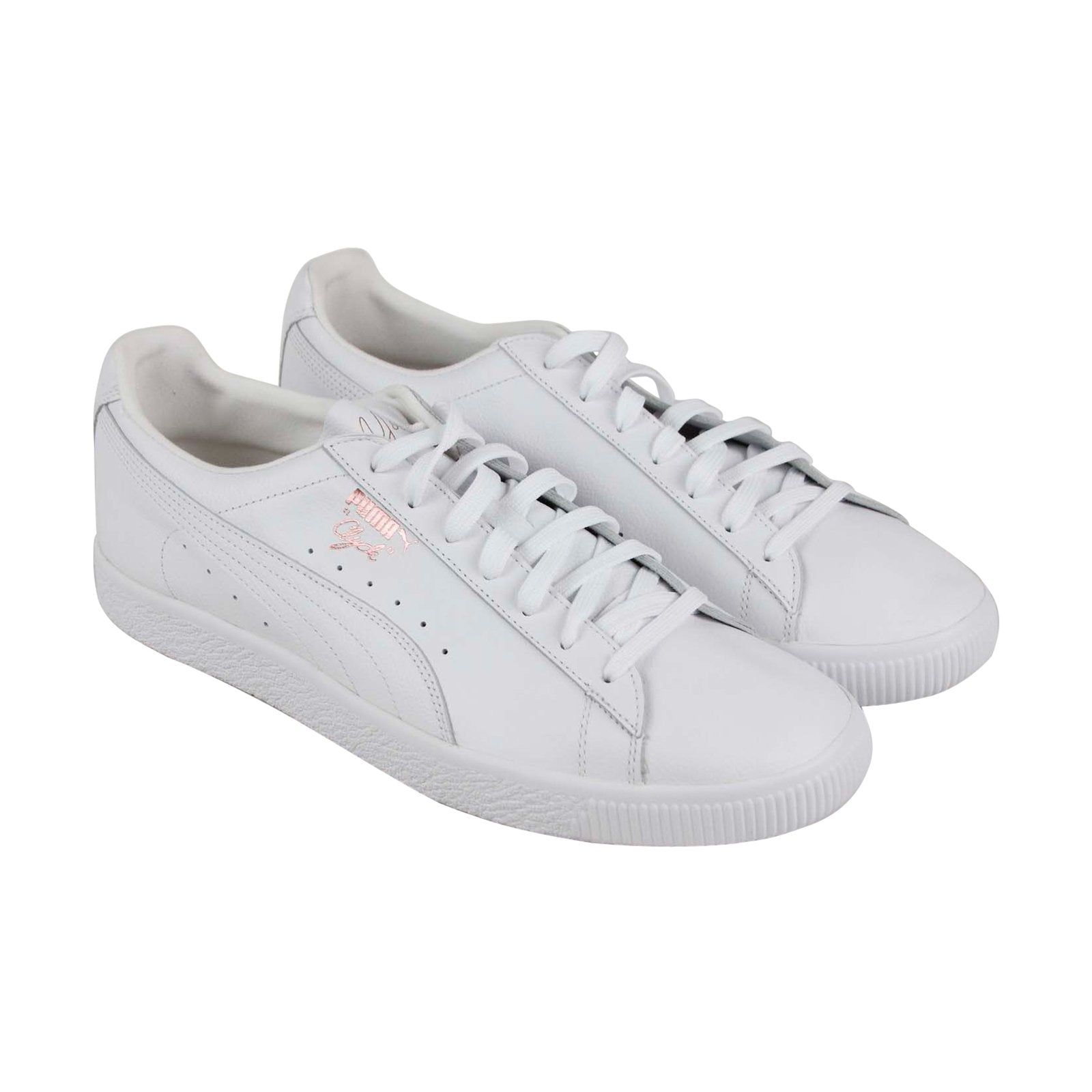 buy popular 77c19 6890f Puma Clyde X Emory Jones Mens White Leather Low Top Lace Up Sneakers Shoes