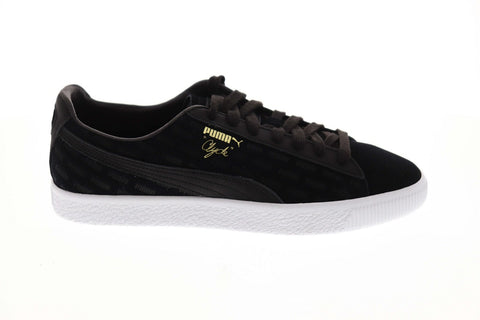 Puma Clyde Embossed Mens Black Suede Low Top Lace Up Sneakers Shoes