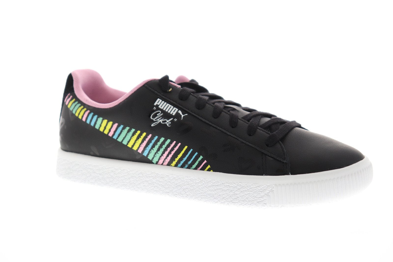 low priced ead7c 7746d Puma Clyde Bradley Theodore Mens Black Leather Low Top Sneakers Shoes