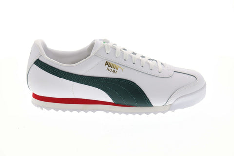 Puma Roma Classic Vtg Mens White Leather Low Top Lace Up Sneakers Shoes