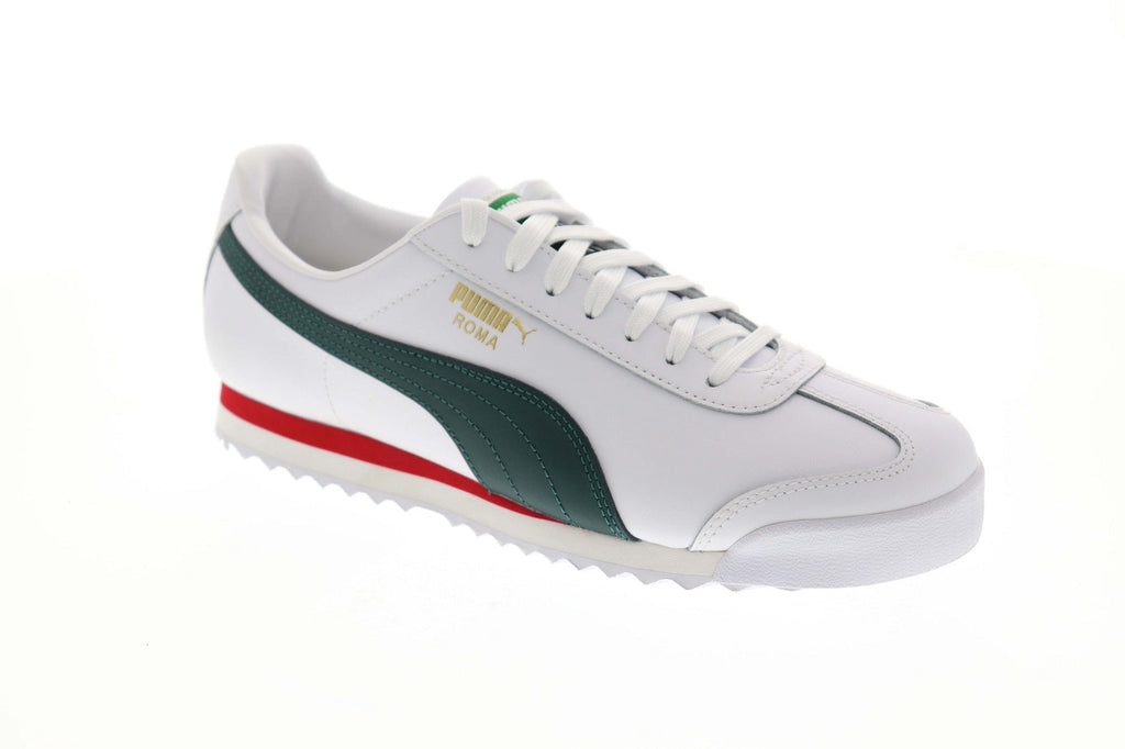 finest selection fe2d3 c9a5b Puma Roma Classic Vtg Mens White Leather Low Top Lace Up Sneakers Shoes