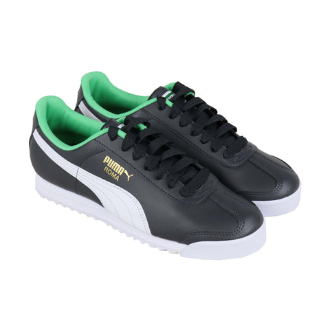 Puma Roma Basic + Mens Black Leather Low Top Lace Up Sneakers Shoes