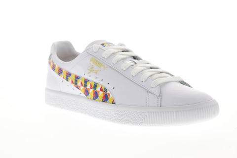 Puma Clyde Graffiti Mens White Leather Low Top Lace Up Sneakers Shoes