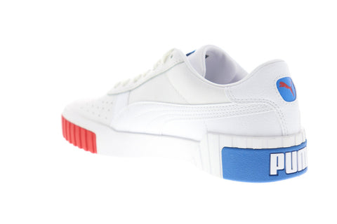 Puma Cali RWB 37024801 Womens White Leather Lace Up Low Top Sneakers Shoes