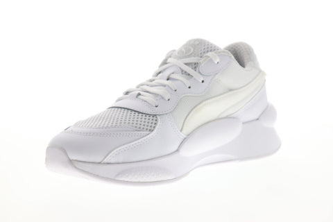 Puma RS 9.8 Core 37036801 Mens White Mesh Canvas Lace Up Low Top Sneakers Shoes