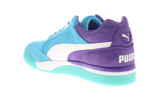Puma Palace Guard Queen City 37041101 Mens Blue Suede Athletic Basketball Shoes