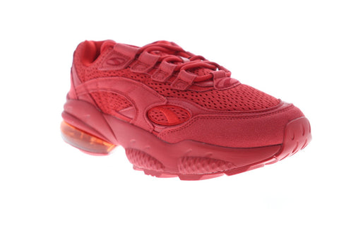 Puma Cell Venom Red Mens Red Suede & Mesh Low Top Sneakers Shoes
