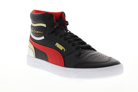 Puma Ralph Sampson Mid 37084703 Mens Black Leather High Top Sneakers Shoes